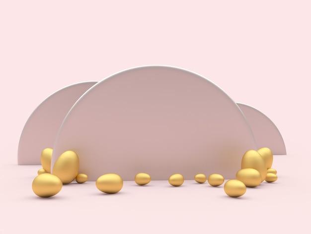 Пустой полукруг с золотыми пасхальными яйцами