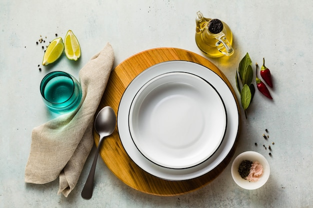 Empty set of plates on a table