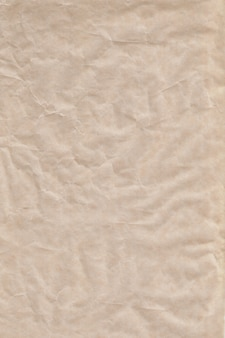 Empty sheet brown crumpled wrapping or parchment paper.