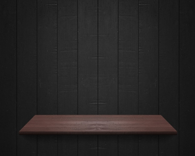 Empty shelf at black wooden wall background, template mock up