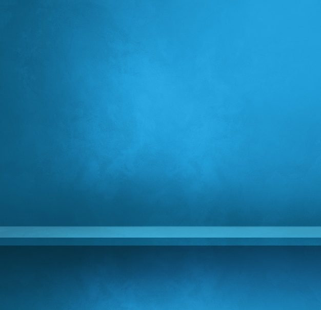 Empty shelf on a blue wall. background template scene. square banner