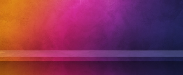 Empty shelf on a colorful wall. background template scene. horizontal banner