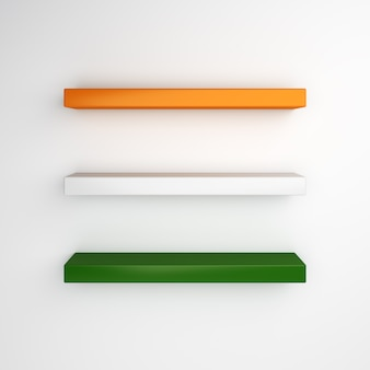 Empty shelf mockup with flag color of india or ireland