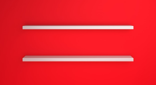 인도네시아 또는 폴란드의 국기 색상이있는 빈 선반 모형