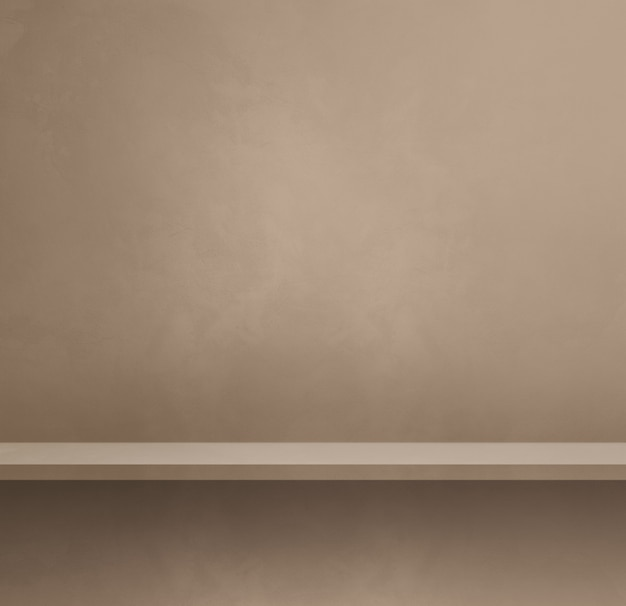 ベージュの壁に空の棚。背景テンプレートシーン。正方形のバナー