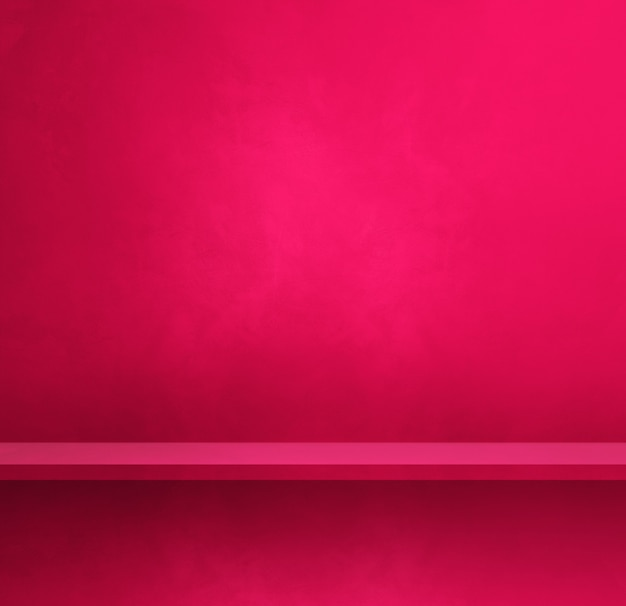 Empty shelf on a pink wall. background template scene. square banner