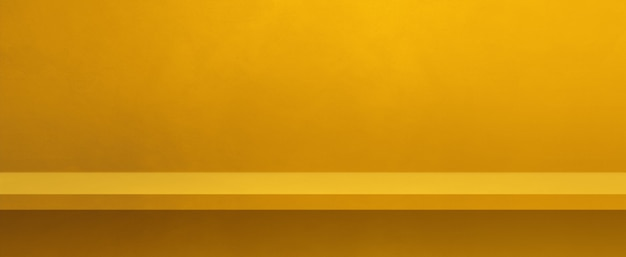 Empty shelf on a yellow wall. background template scene. horizontal banner