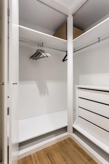 Пустые полки в шкафу для одежды.