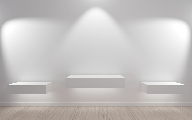 Empty shelves in minimalist style with led light .