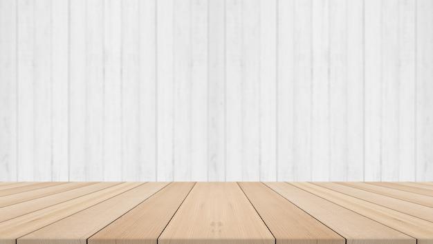 흰색 나무 배경으로 빈 선반, 제품 배치를위한 사용 가능한 공간 프리미엄 사진