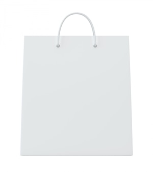Empty shopping bags on white for advertising and branding.
