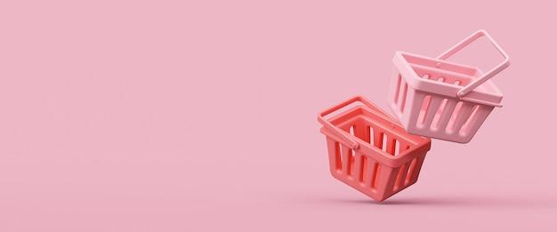 ピンクで隔離の空の買い物かご