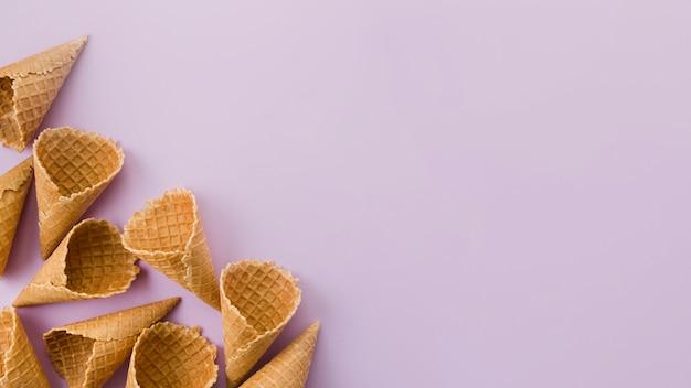 Empty short waffle ice cream cones