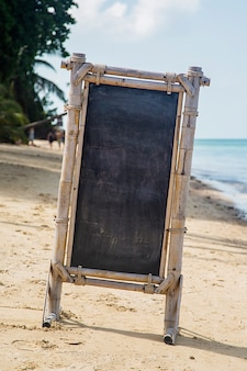 Empty signboard on the beach