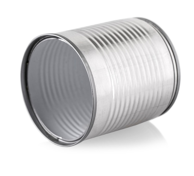 Empty silver can on white background.