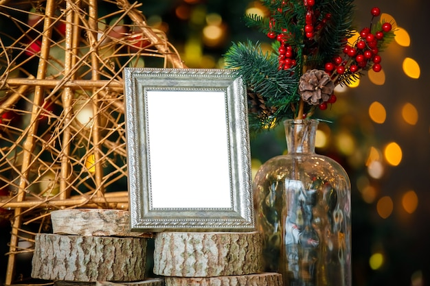 Empty silver photo frame
