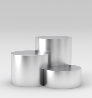 Empty silver winners podium on white background. 3d rendering.