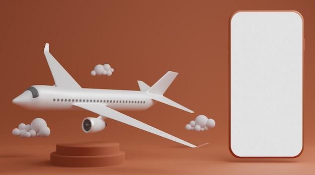 飛行機と空のスマートフォンの白い画面のモックアップ側の丸い台座