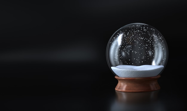 Empty snow globe christmas covered with snow and dark background