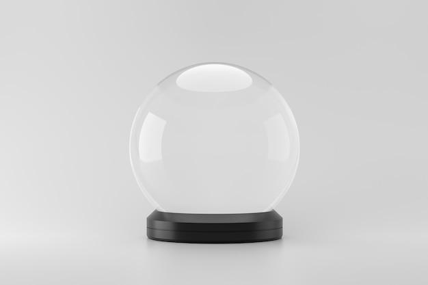 Empty snow globe on white background