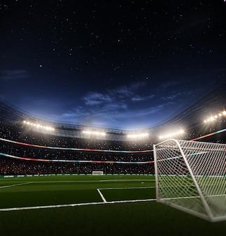 夜の空のサッカーサッカースタジアム3dレンダリング