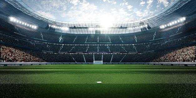 Пустой футбольный стадион с фанатами