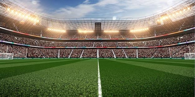 ファンのいる空のサッカースタジアム