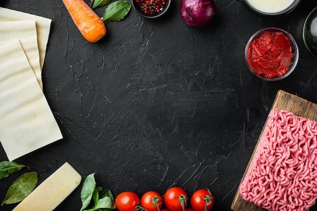 빈 공간 깨끗한 프레임 세트 요리 라자냐 이탈리아 재료 라자냐 시트의 개념
