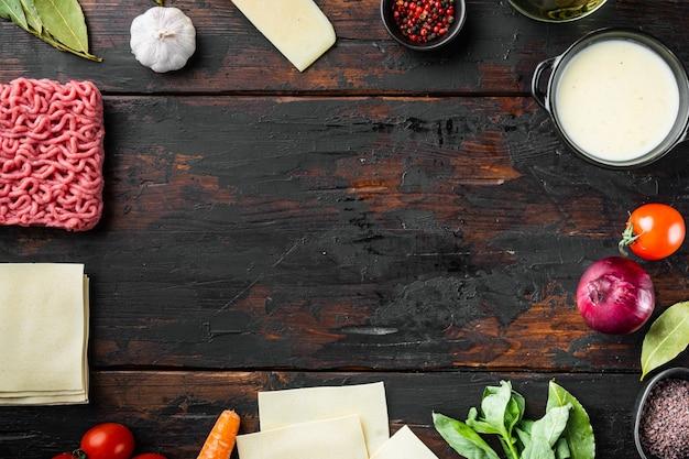 빈 공간 깨끗한 프레임 세트-라자냐 이탈리아 재료 요리의 개념
