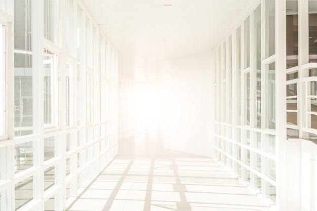 Empty space (empty wall in a bright room), building construction,  abstract architecture background, corridor in the modern building,