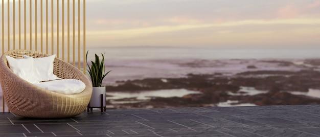 Пустое пространство для монтажа с плетеным стулом стилиста и видом на море на фоне 3d