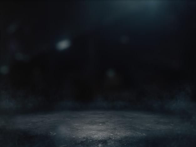 배경에 밝은 반점이있는 어두운 방에서 제품 쇼를위한 빈 공간.