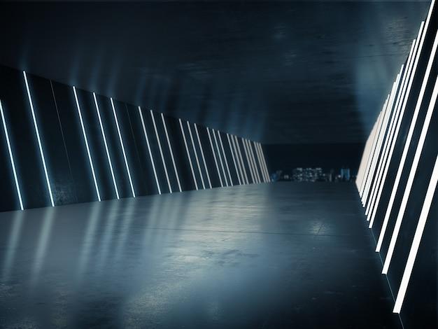 제품 쇼를위한 빈 공간은 밝은 빛으로 긴 복도에 있습니다.