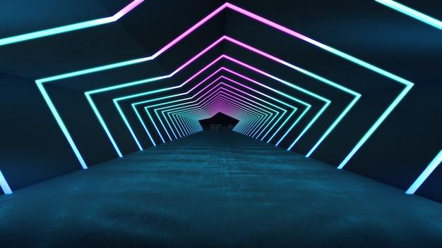 明るい輝きの長い廊下での製品ショーのための空のスペース