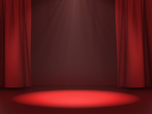 Пустое пространство для демонстрации продукта на красной сцене со светлым пятном. 3d-рендеринг.