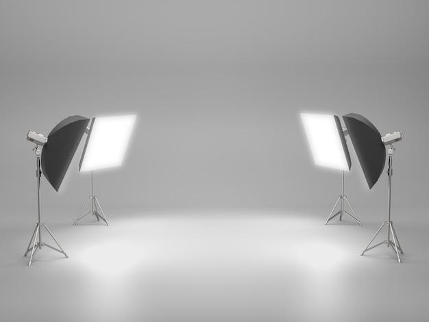 スタジオルームのライトボックスと製品ショーの空スペース。
