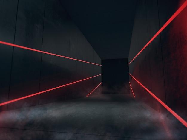 제품을위한 빈 공간은 led 조명이있는 어두운 방에 표시됩니다.