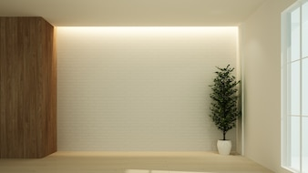 Empty space interior 3D rendering in hotel - minimal style