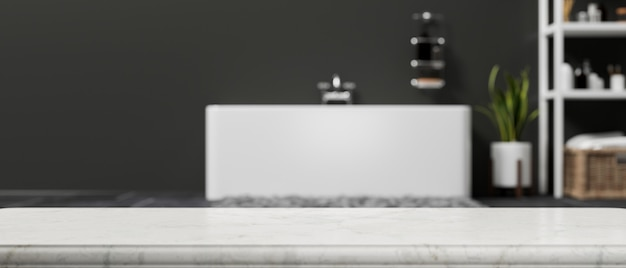 Empty space on marble bathroom tabletop over blurred modern and contemporary bathroom 3d rendering
