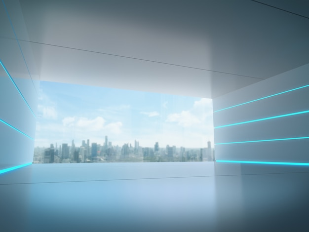 Empty space for product show in futuristic room with city background.