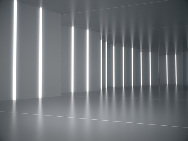 Empty space for product show in long corridor with light glow.