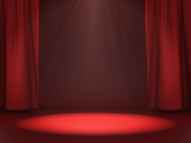 Empty space for product show on red stage with light spot. 3d rendering.