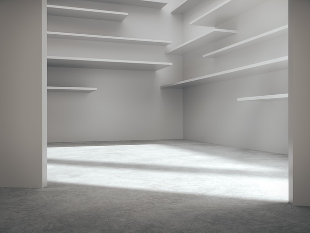 Empty space for product showcase in white room.