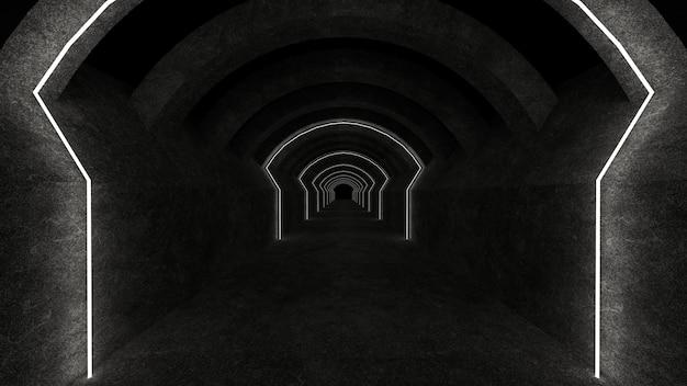 콘크리트 벽과 빛나는 네온 튜브가있는 빈 공간. 3d 렌더링.