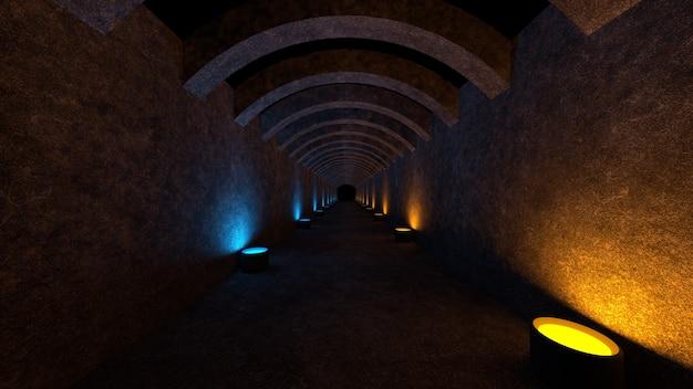 콘크리트 벽과 램프가 벽에 부드러운 확산 광을 퍼뜨리는 빈 공간. 3d 렌더링.