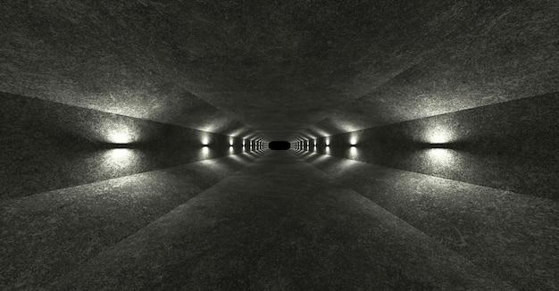 콘크리트 벽과 램프가 벽에 부드러운 확산 빛을 위아래로 퍼지는 빈 공간. 3d 렌더링.