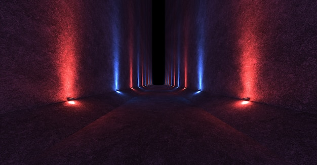 Empty space with concrete walls and fixtures on the walls spreading directed red and blue light up and down