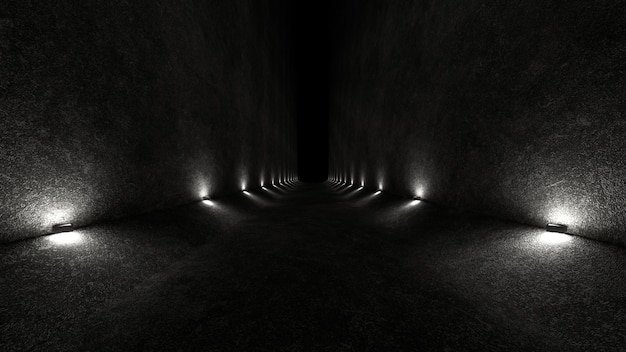 Empty space with concrete walls and lamps on the walls spreading soft diffused light up and down