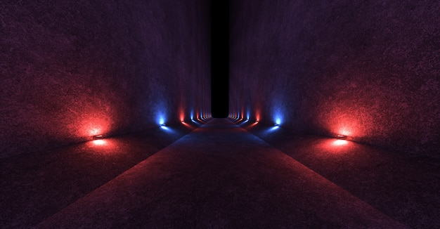 Empty space with concrete walls and lamps on the walls spreading soft diffused red and blue light up and down.