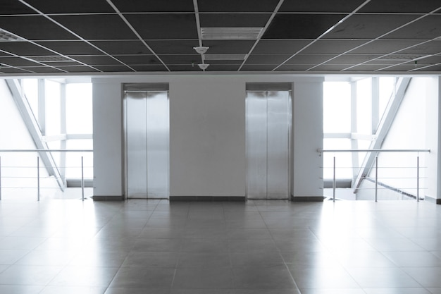 Empty spacious corridor in a modern office building